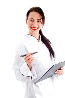 Free Female Chef Writing Down The Menu Stock Photography - 8137982