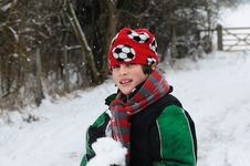 Boy Playing In The Snow Royalty Free Stock Photography