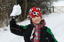 Boy Throwing Snow Stock Photography