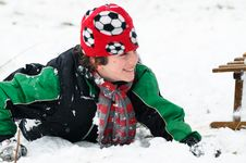 Free Boy Falls In The Snow Royalty Free Stock Images - 8138799