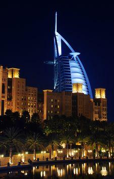 Free Burj Al Arab At Night. View From Madinat Jumeirah. Royalty Free Stock Photography - 8139577