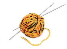 Free Yellow Wool Ball With Needles Stock Photos - 8139923