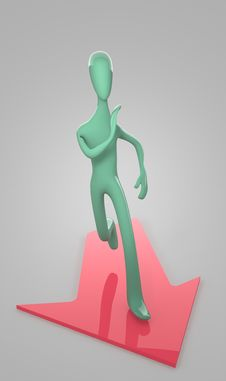 3d Person Runs To Goal On Gray Background Stock Images