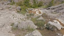 Mountain Stream Flowing Through Stones Royalty Free Stock Photography
