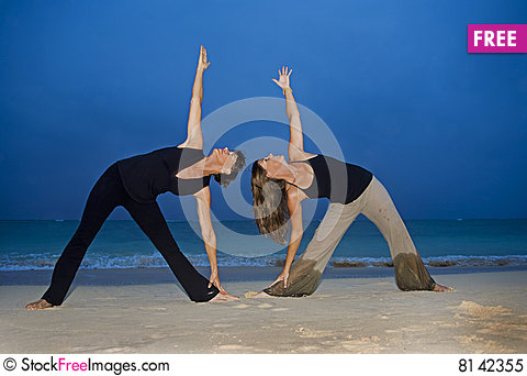 Free Mother And Daughter Doing Yoga Royalty Free Stock Photo - 8142355
