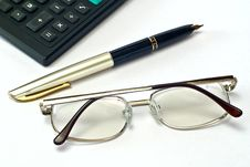 Free Calculator, Pen And Spectacles Stock Image - 8140141