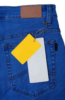 Jeans Pocket With Empty Labels Stock Photography