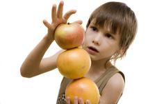 Free Fruit Pyramid In Boy S Hand Stock Photos - 8140673