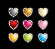 Free Set Of 9 3d Vector Hearts With A Glow Affect Royalty Free Stock Photo - 8141365
