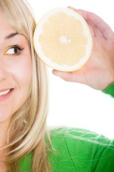 Free Woman With Grapefruit Royalty Free Stock Photography - 8141387