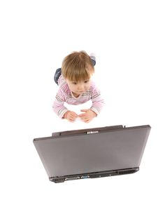 Free Baby With Laptop Royalty Free Stock Photos - 8141398