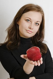 Free Woman Holding Red Apple Stock Photography - 8142102