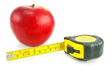 Free Bright Red Apple And Measuring Tape Stock Photos - 8142333