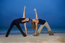 Mother And Daughter Doing Yoga Royalty Free Stock Photo