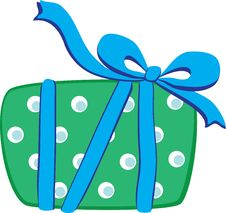 Gift With Blue Ribbon Stock Images