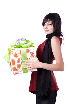 The Young Girl With A Gift Box Royalty Free Stock Image