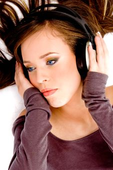 Top View Of Model Listening Music Stock Images