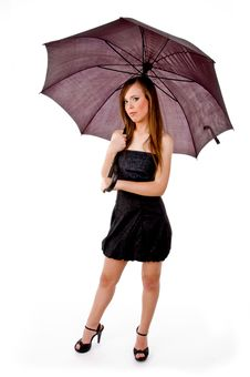 Free Front View Of Woman Holding Umbrella Stock Images - 8143744