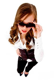 Top View Of Female Holding Sunglasses Royalty Free Stock Photos
