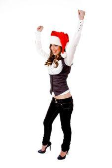 Free Sidepose Of Happy Christmas Woman Stock Photo - 8144020