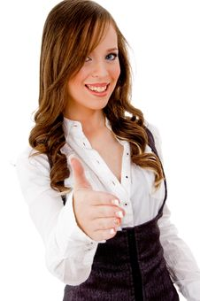Free Front View Of Smiling Female Offering Handshake Stock Photography - 8144062