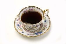 Ornate China Cup Of Coffee On White Royalty Free Stock Photo