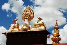 Roof Of Tibetan Lamasery Royalty Free Stock Photo
