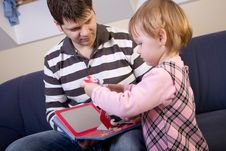 Free Little Girl Play With Father Royalty Free Stock Image - 8144916