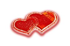Free Two Red Glass Hearts Royalty Free Stock Photos - 8144958