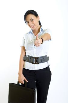 Free Businesswoman In A Suit Holds A Briefcase Royalty Free Stock Image - 8145816