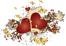 Grungy Red Hearts Surrounded By Butterflies Royalty Free Stock Images