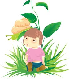 Free Cute Child With Snail On A Grass Royalty Free Stock Image - 8146776