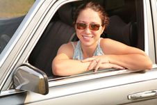Woman Smile In Car Stock Image