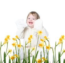 Free Little Girl With Narcissus Royalty Free Stock Photography - 8147077