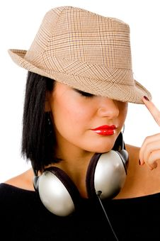 Free Portrait Of Young Female Wearing Headphone And Hat Royalty Free Stock Photos - 8147148