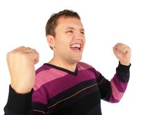 Free Man Celebrates A Victory Stock Photography - 8148312