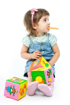 Free One Year Old Girl Playing With Her Toys Royalty Free Stock Photography - 8148517