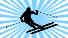 Ski Athlete Slalom Silhouette Stock Images