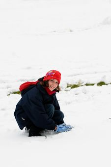 Free Girl Playing In The Snow Stock Images - 8149204