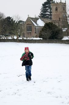Free Boy Running In The Snow Stock Image - 8149241