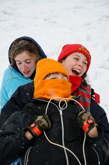 Free Closeup Of Children On Sledge Stock Photography - 8149442