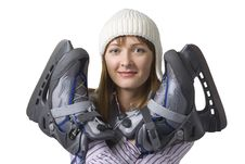 Happy Young Woman With Ice Skates Stock Photography