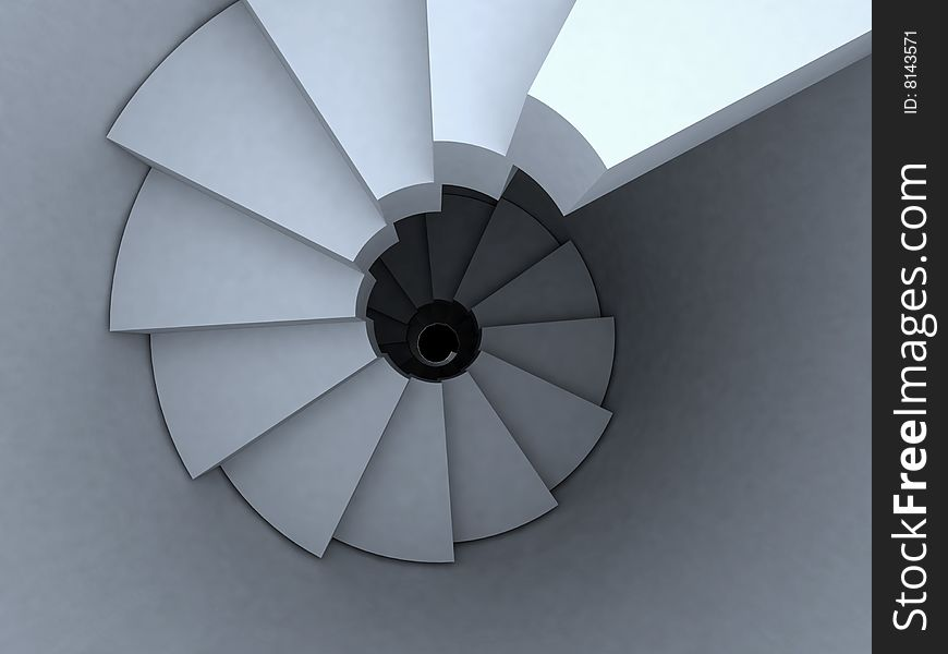 Spiral stairway top view