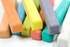 Colored Chalk On White Stock Photography