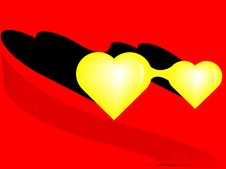 Two Yellow Hearts Stock Image