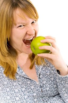 Free Young Woman Eating Apple Royalty Free Stock Photos - 8154698
