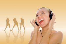 Free Happiness Young Women In Headphones Stock Photos - 8157153