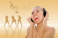 Free Happiness Young Women In Headphones Stock Photography - 8157192