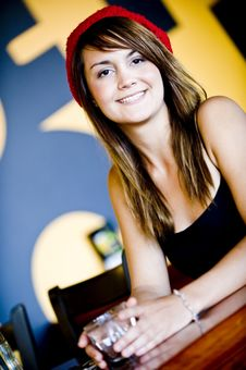 Free A Beautiful Young Woman Having Lucnh In A Cafe Royalty Free Stock Photos - 8159408