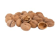 Free Heap Walnuts On A White. Royalty Free Stock Photos - 8159948